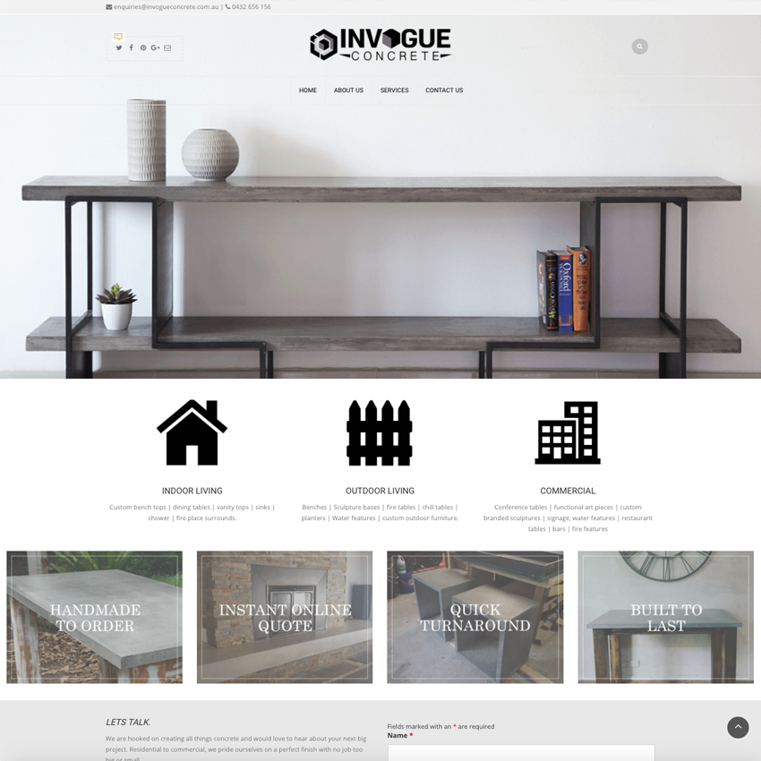 INVOGUE CONCRETE EXAMPLE - PORTFOLIO web design